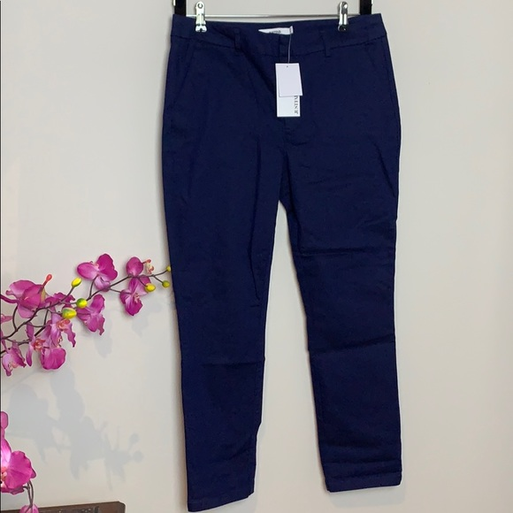 👛Blue casual cotton stretch pant